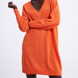 NEW ZARA ORANGE V NECK SWEATER DRESS OVERSIZED SM